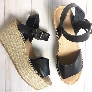 Soludos Black Leather Platform Wedge Sandal - 8.5